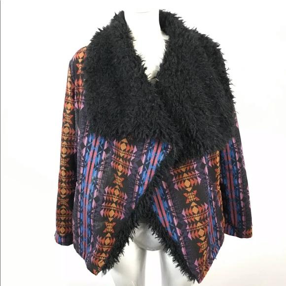 minkpink aztec Open jacket faux shepherd lined